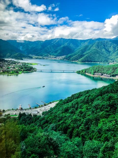 カチカチ山こと天上山ロープウェイから見える河口湖は絶景