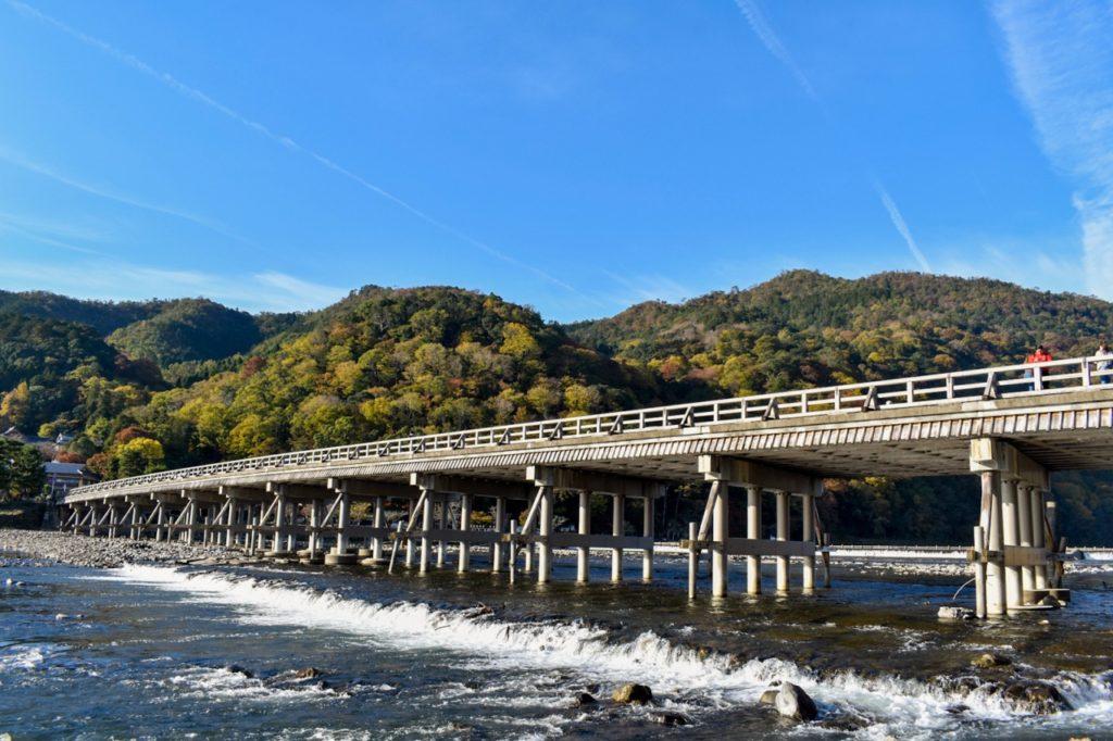 紅葉に染まる渡月橋と嵐山