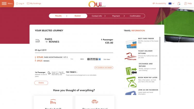 oui.sncf(フランス旅行)の個人手配方法