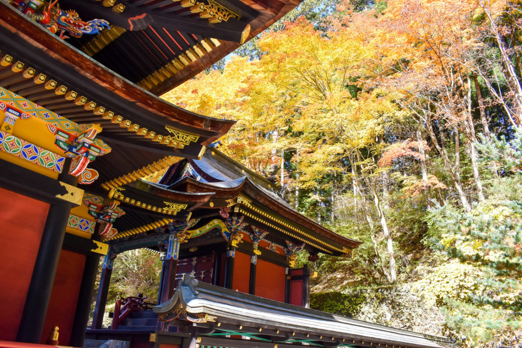 三峯神社_本殿と紅葉