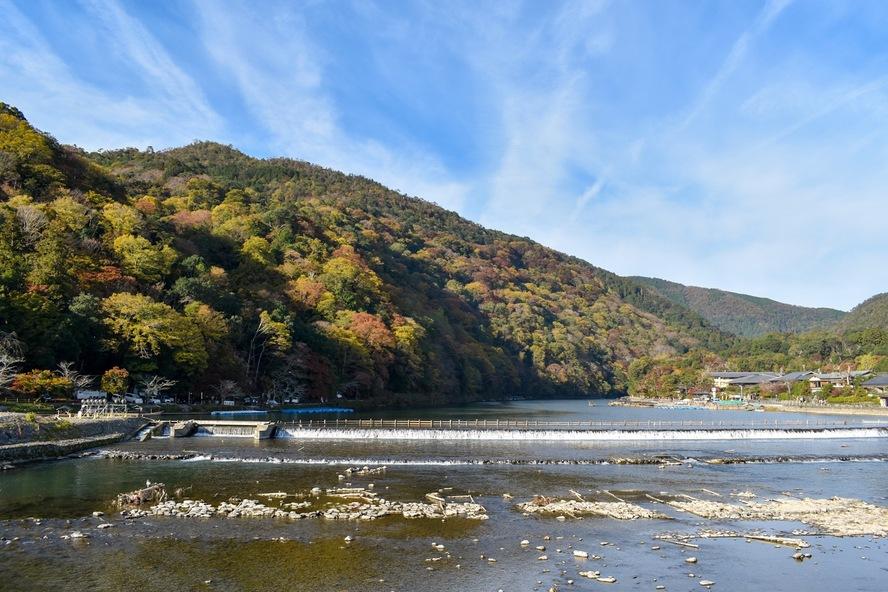 京都_紅葉に染まる嵐山