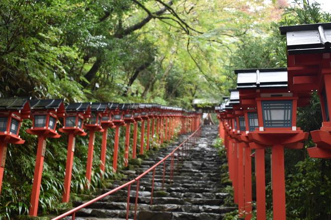 貴船神社本宮_灯籠と石階段の風景