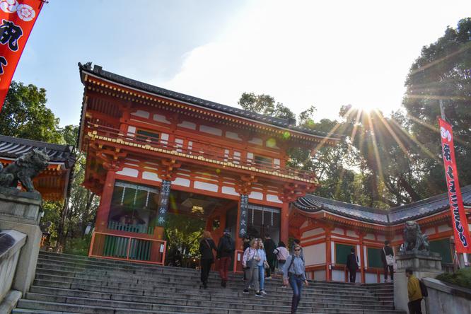 古都・京都の自然_鴨川と八坂神社